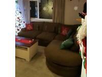 Corner dfs sofa brown