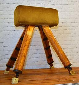 Pommel horse school vintage gym equipment retro industrial wooden restaurant mancave