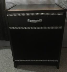 Black Gloss Bedside Table / Cabinet with Bling Finish | Ideal for Girls Bedroom | 54 cm x 40 cm |