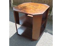 art deco walnut side bedside table