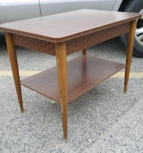 Oakville 1960s RETRO SIDE TABLE Solid Wood Vintage mid-century MCM Antique Round Legs Golden Age