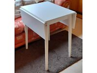 Ikea small extending white table with 3 chairs