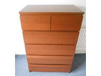 Malm Six Drawer Chest - Brown Ash Veneer - Ikea