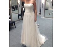 Strapless Beaded Lace Tulle Wedding Dress - Size 12