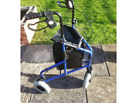 3 Wheeled foldable mobility walker with leather removable storage bag