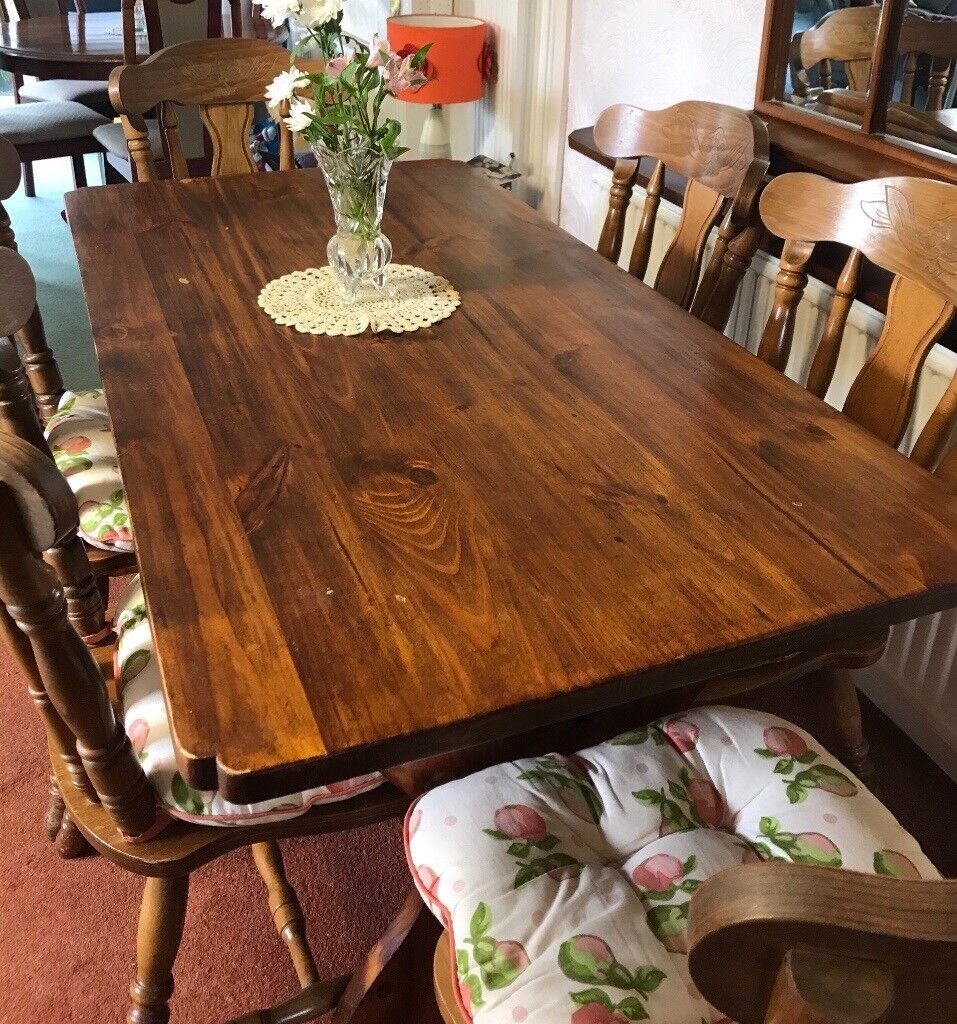 Wood Dining Table Refrectory Style With X6 Olde English Cottage Chairs