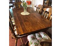 Wood dining table , refrectory style with x6 Olde English cottage style chairs