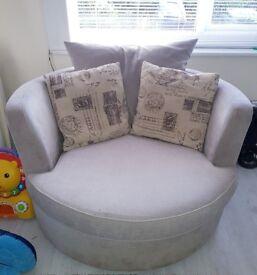 DFS Two Seater Sofa, Swivel Chair & Pouffe