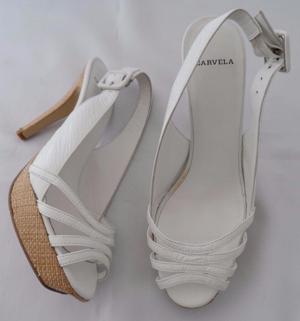 Carvela White Strappy Platform Sandals Shoes Size 4 EU 37 Originally £75