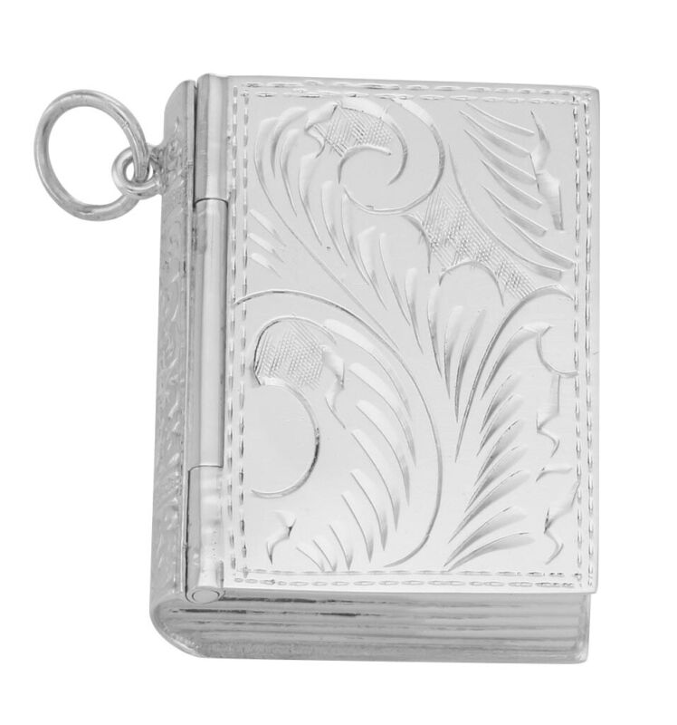 Antique Style Sterling Silver Book Pillbox with Etched Design