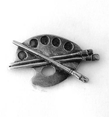 Artist Paint Palette Pin Badge in Fine English Pewter, Handmade (H)