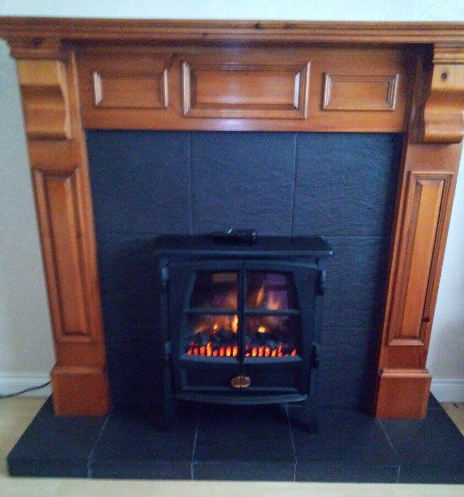 Honey Pine and Black Slate Fireplace