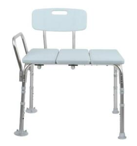 NEW Medline Transfer Bench with Back, Knockdown, Microban