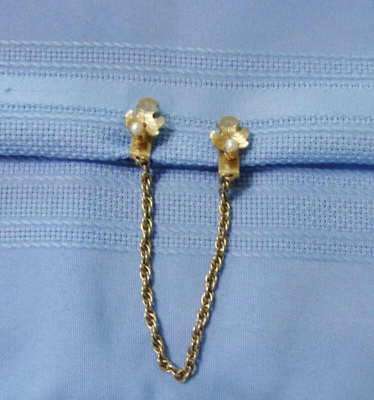 Gold Tone Leaf Design Sweater Clip / Guard w Faux Pearl Decoration