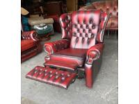 Oxblood red leather chesterfield recliner chair UK DELIVERY
