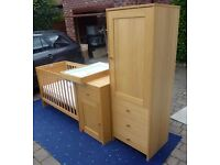 Nursery Furniture Set - cot, wardrobe, cabinet, under cot drawer and sliding change table oak effect