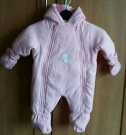 Baby girl snowsuit age 0-3 mths