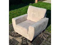Ex-display Designer Beige Fabric Material Arm Chair.
