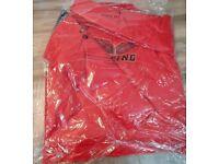 Mens DXUX Red Leather Biker Jacket Full Zip & 2 Pockets - (S/M/L/XL)