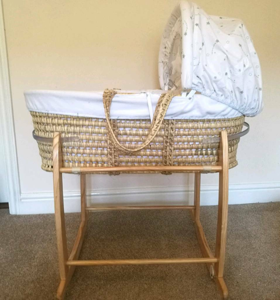 Moses basket with rolling stand for sale