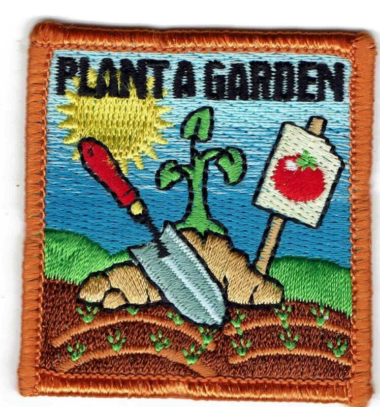Girl Boy Cub PLANT A GARDEN Gardening Patches Crest Badge SCOUTS GUIDE Flowers