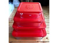 Pyrex - Set of 4 Dishes with plastic Lids
