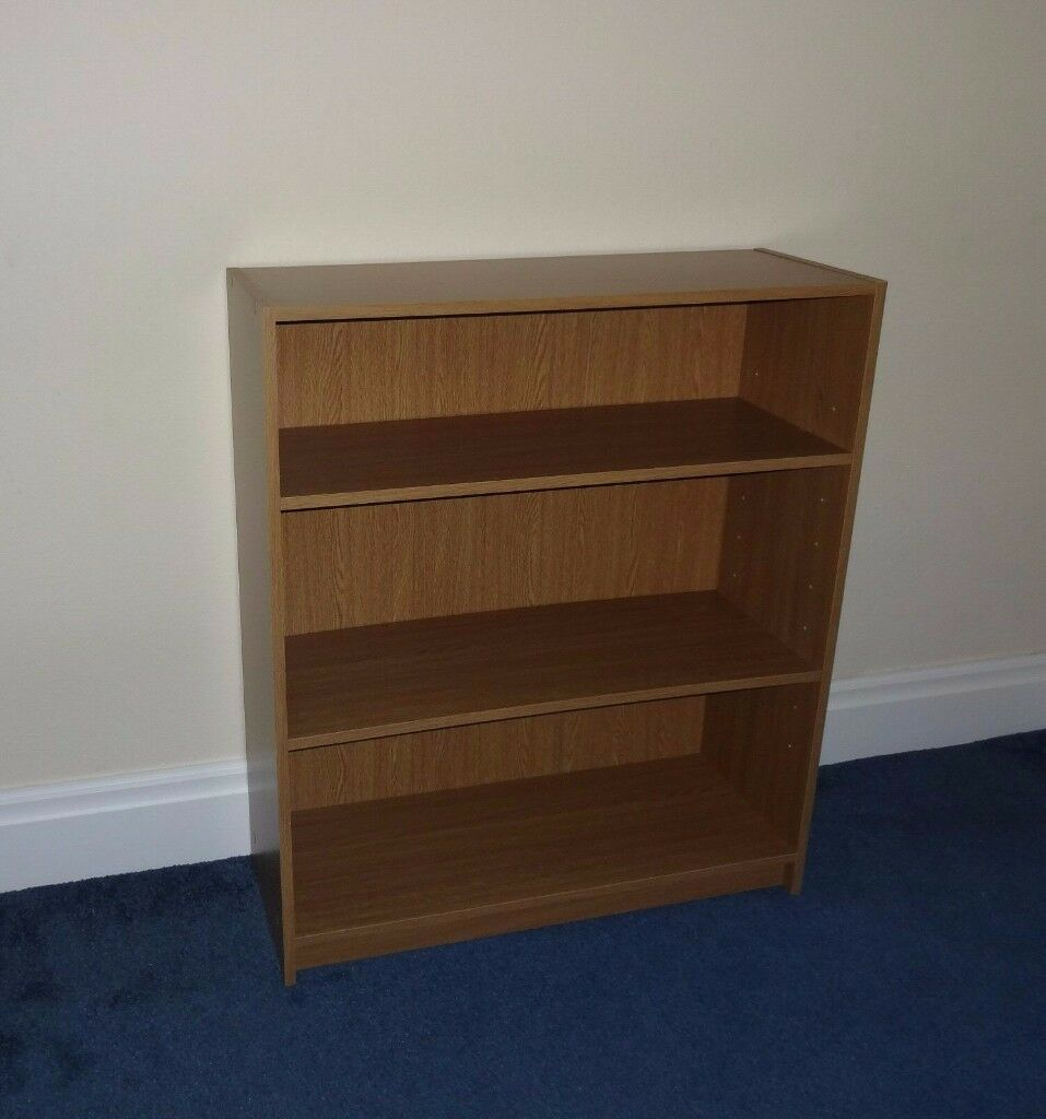 Oak Effect Bookcase Book Case With 3 Shelves