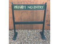 Vintage Wooden ' Private No Entry' Barrier Sign