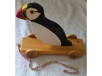 Wooden Pull Along Puffin Toy