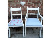 Lovely Shabby Chic Dining/Living/Kitchen Chair Painted in Antique White Colour
