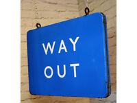 Scottish double sided Way Out british railway enamel sign train metal vintage antique decor mancave
