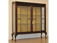 Attractive Vintage Queen Anne Style Carved Mahogany Glazed Door Display Cabinet