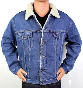 NEW LEVI'S MEN'S CLASSIC BUTTON UP BLUE FUR DENIM JEANS JACKET 705203790 SIZE XL