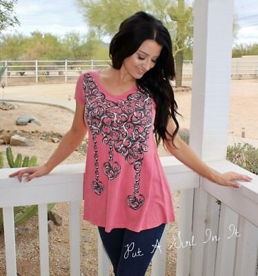 VOCAL CRYSTAL CORAL PINK HEART CHAINS V NECK TUNIC SHIRT USA BLING S M L XL Pink Crystal Bling