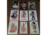 9 Vintage Spanish Embroidered Postcards