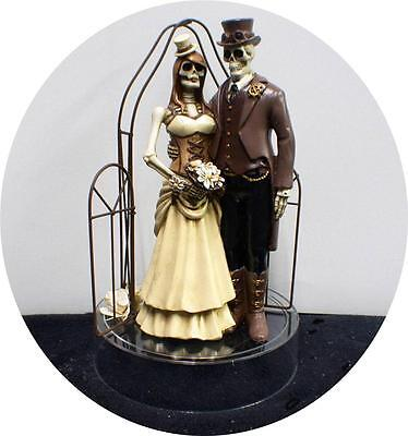 STEAM PUNK Skeleton Wedding CAKE TOPPER top Halloween Day of the Dead Funny - Cool Halloween Cakes