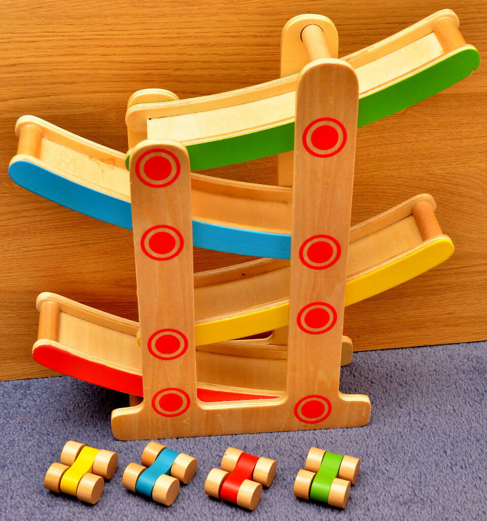 Traditional Wooden Click Clack Car Toy Set