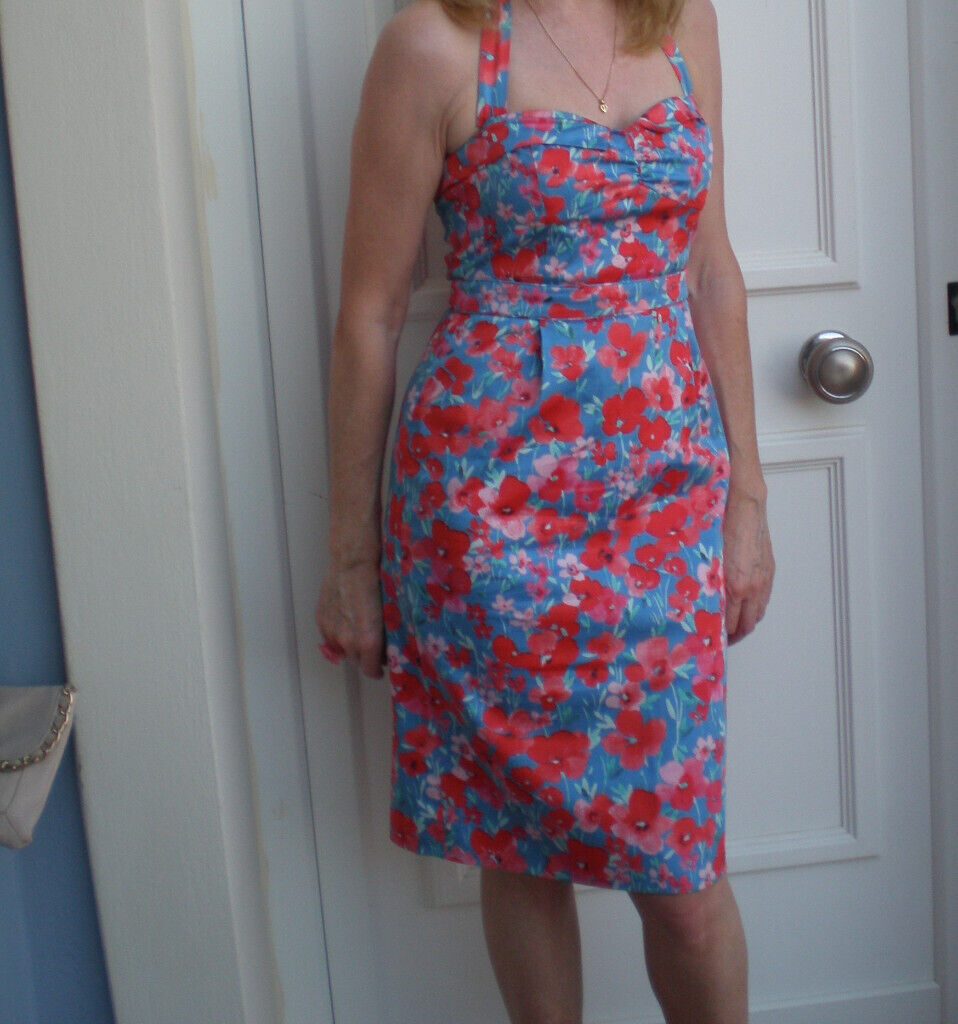 1b2ca514bc5b Floral pencil style halter neck blue/red dress size 8/34 from Oasis | in ...