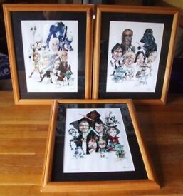 3 x STAR WARS signed framed caricatures pictures...... by Chris Margett
