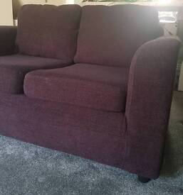 2 seater fabric sofa and chair plum / purple