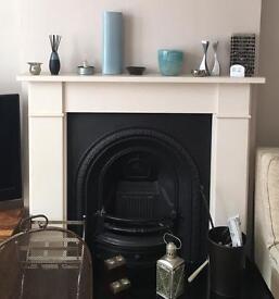 Fireplace: mantel, backpiece and hearth