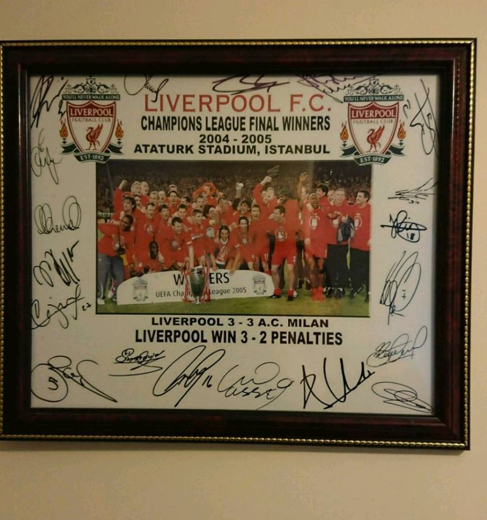 Hand signed 2005 Istanbul CLF Liverpool display with Coa