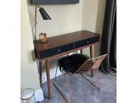 Desk, chair with seat pad and lamp set