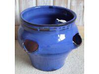 Blue ceramic flower pot
