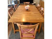Ikea Solid Wooden Dining Table & 8 Chairs