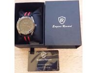 New - GENTS EUGENE RENARD TIMEPIECE MODEL X - BLACK FACE - RED INDICES