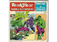 THE HULK, story book + Vinyl record rare, HAD TO PUT A PRICE I TO LIST MAKE A OFFER