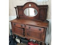 Vintage antique furniture from the '50s '60s - Mirror sideboard with drawers and cupboards