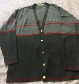 LADIES LIGHT & DARK GREY WITH RED STRIPE CARDIGAN (Holmewood) SIZE LARGE