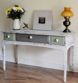 Chalk Painted Vintage 1980's Stag Sideboard, Hall Table or Desk - Hand Painted Shabby Chic.